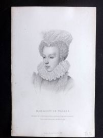 Bentley 1849 Antique Portrait Print. Margaret de Valois